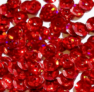 8mm Hologram Red Semi-cupped Sequins x 20g